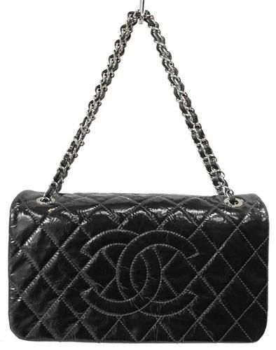 3c18b8fe2a4 Chanel Black Quilted Patent Leather 2010 CC Flap Shoulder Bag on sale at  Lollipuff