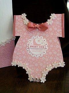 Pink Baby Onesie Card Cute Flower Trim Baby Boy Cards Handmade