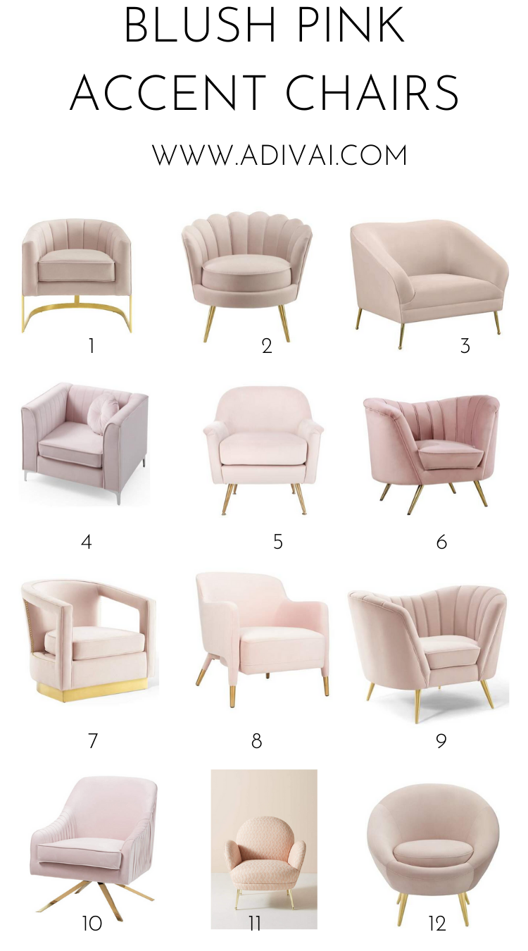Blush Pink Accent Chairs In 2020 Pink Accent Chair Accent Chair Bedroom Living Room Chairs