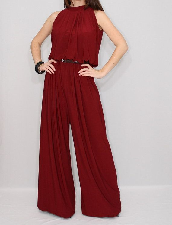 42b6048674a Wine red wide leg jumpsuit women Burgundy red halter top jumpsuit ...