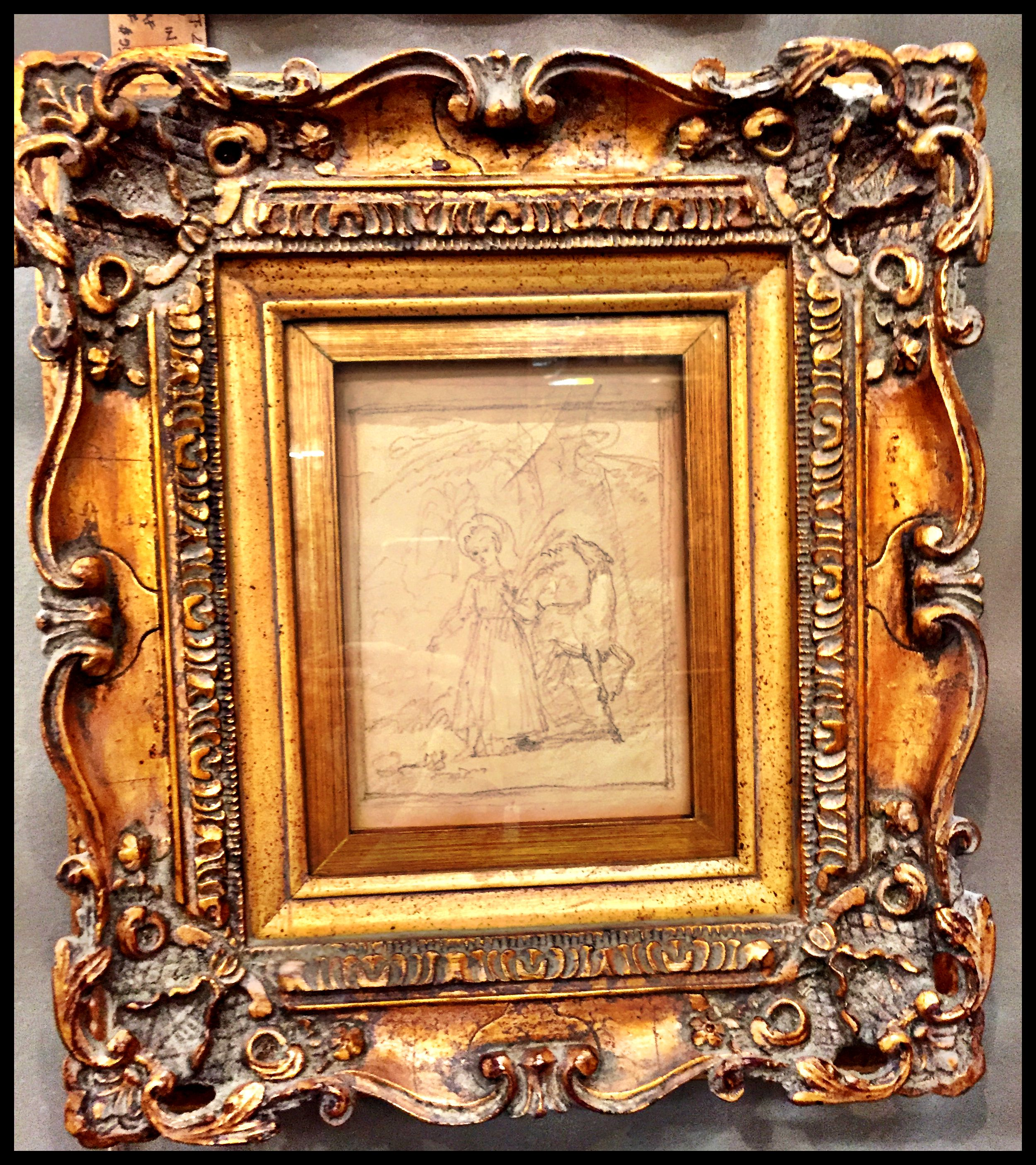 Sketch in large gold leaf frame, $250. Gaslamp Antiques Too, booth ...
