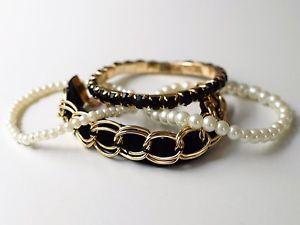 Elegantes Perlenarmband Armschmuck Armkette Perlen Schwarz/Gold 4-teilig   eBay