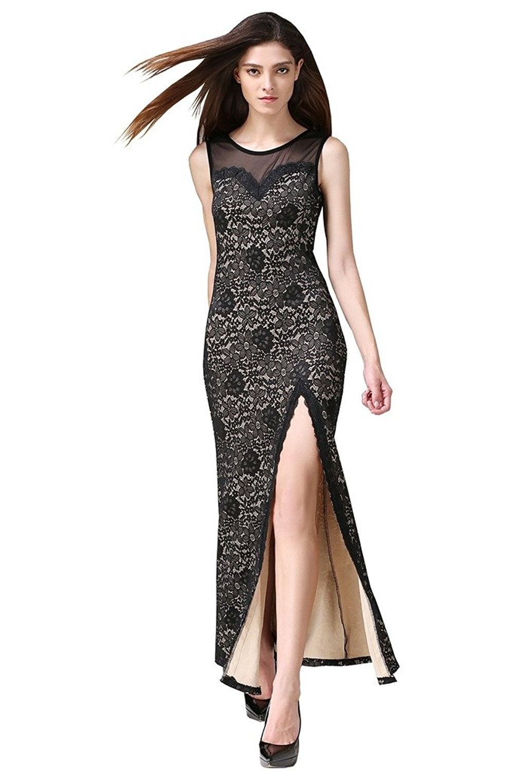 d5527c30e41f Women's Clothing, Dresses, Formal, Women's Sleeveless Floral Lace Split  Side Long Evening Gown Dress - Nude - C812M02MN9D #women #clothing #fashion  ...