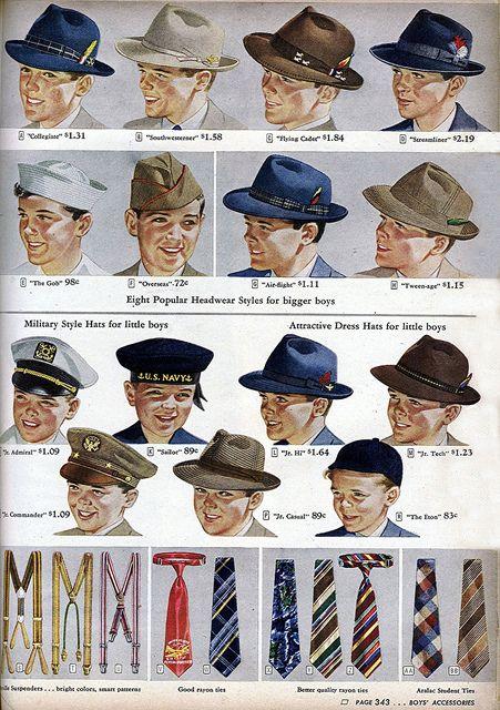 """Från en tid då pojkar ville bli män. Boy's hats & ties. From the Spring / Summer 1944 Sears Roebuck catalog. Note the """"Keep 'Em Flying"""" bomber tie!"""