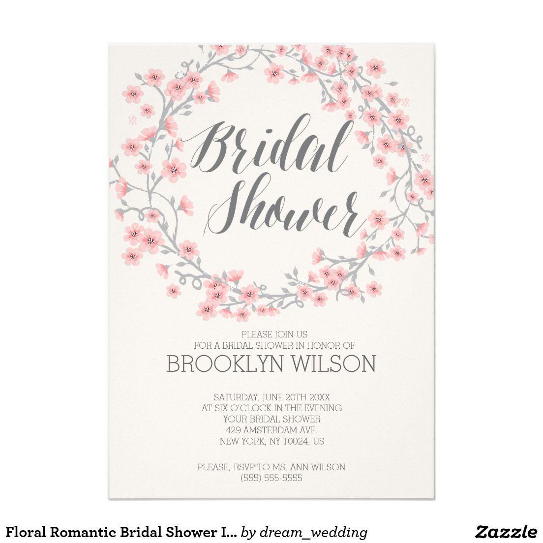 Floral romantic bridal shower invites pink wreath wedding wreath floral romantic bridal shower invites pink wreath filmwisefo Choice Image