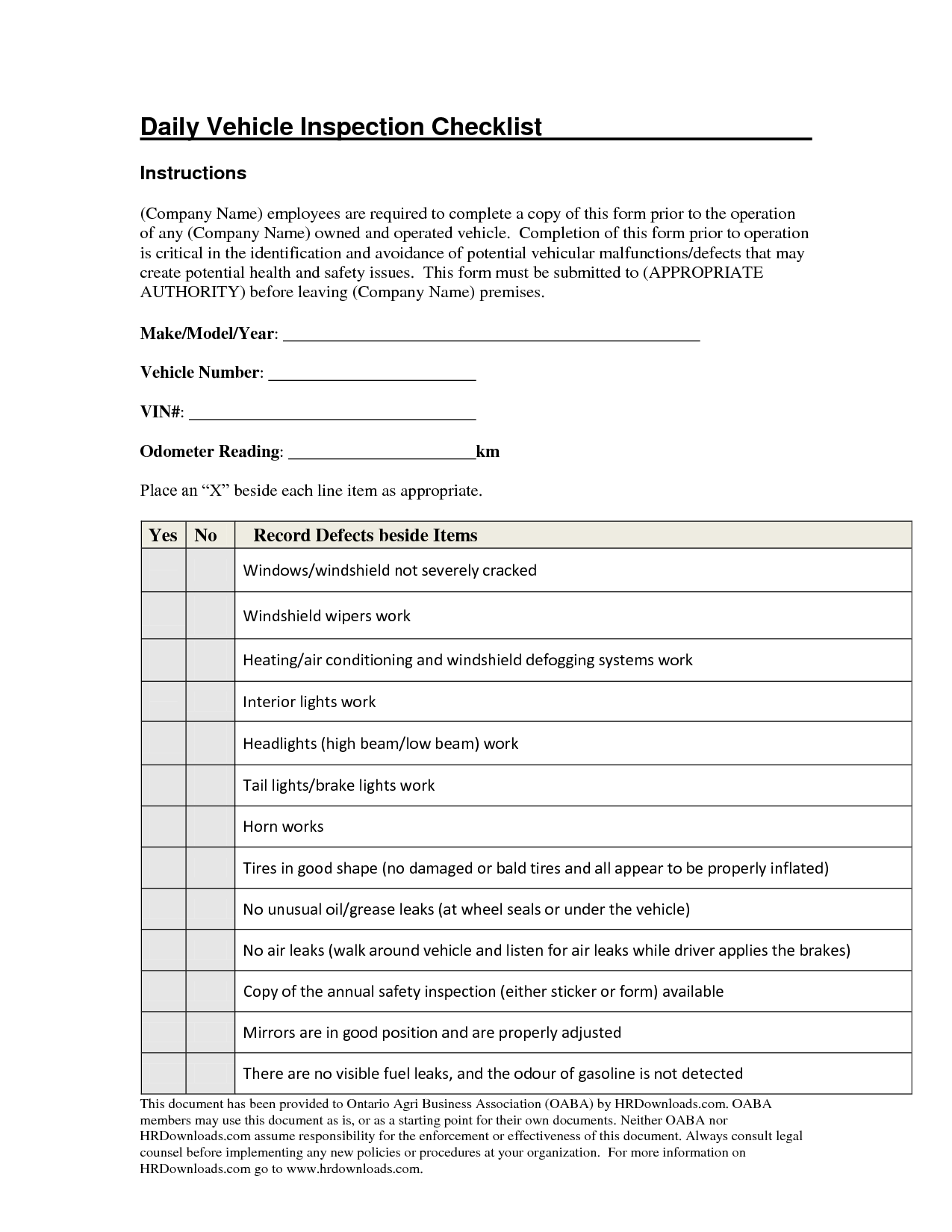 Daily vehicle inspection checklist form image gallery for Van checklist template
