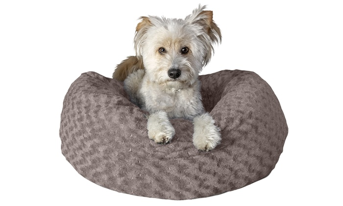 Furhaven Deep Dish Curly Fur Plush Donut Dog Bed in 2020