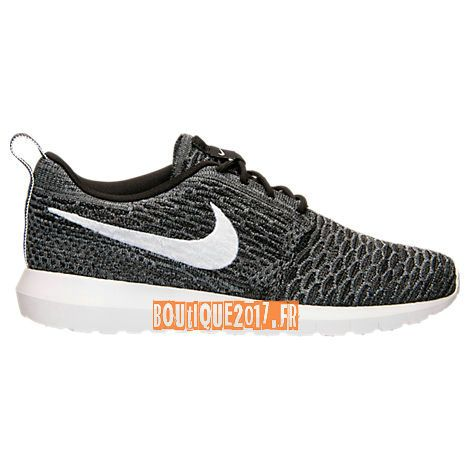 Nike Roshe One NM Flyknit Casual Shoes Noir Blanc Cool Gris Dark Gris  677243-010