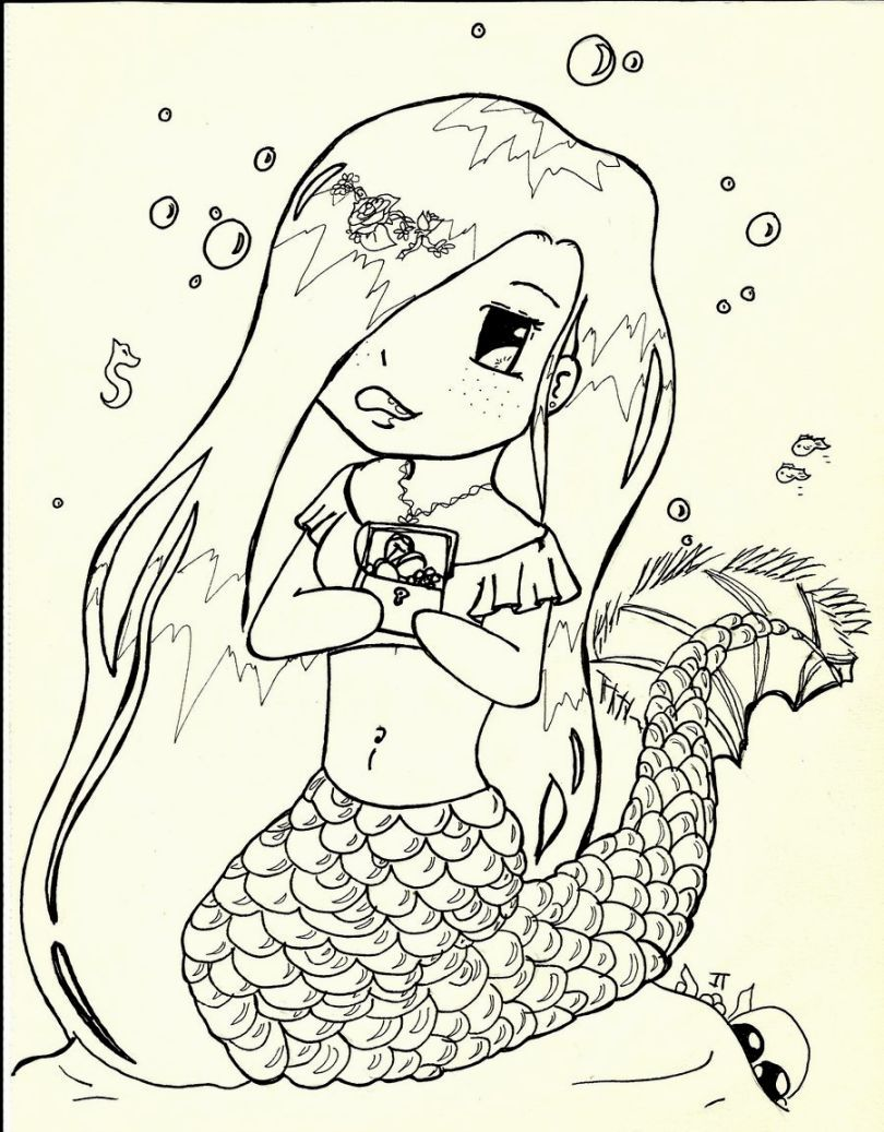 Cute Mermaid Coloring Pages | Doodles,Zentangles & Art | Pinterest ...