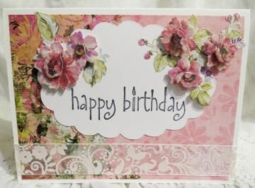 Beautiful Feminine Birthday Card Pink with Roses Handmade by luvncrafts for $3.50