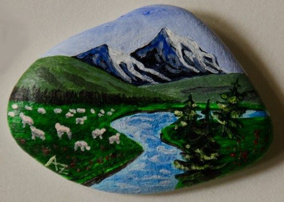 Flock of sheep - rock painting by Annamoon77 on deviantART