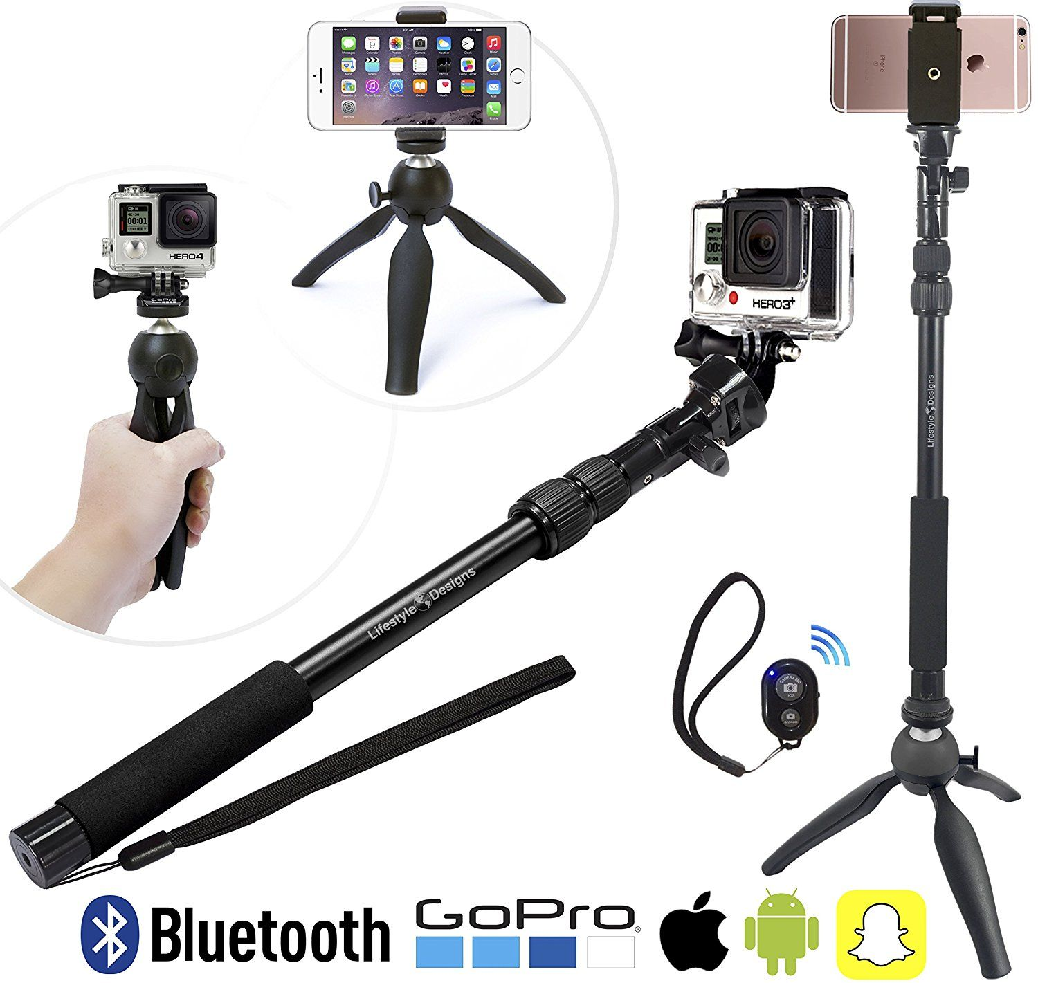 Premium HD Selfie Stick and Tripod 3 in 1 Video Kit for New iPhone 7 7 Plus GoPro Hero5 Android or Camera Bluetooth Remote