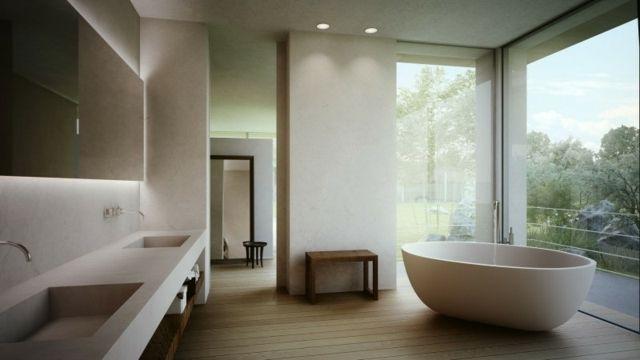 Bad gestalten freistehende Badewanne Waschbecken Einbauleuchten Holz