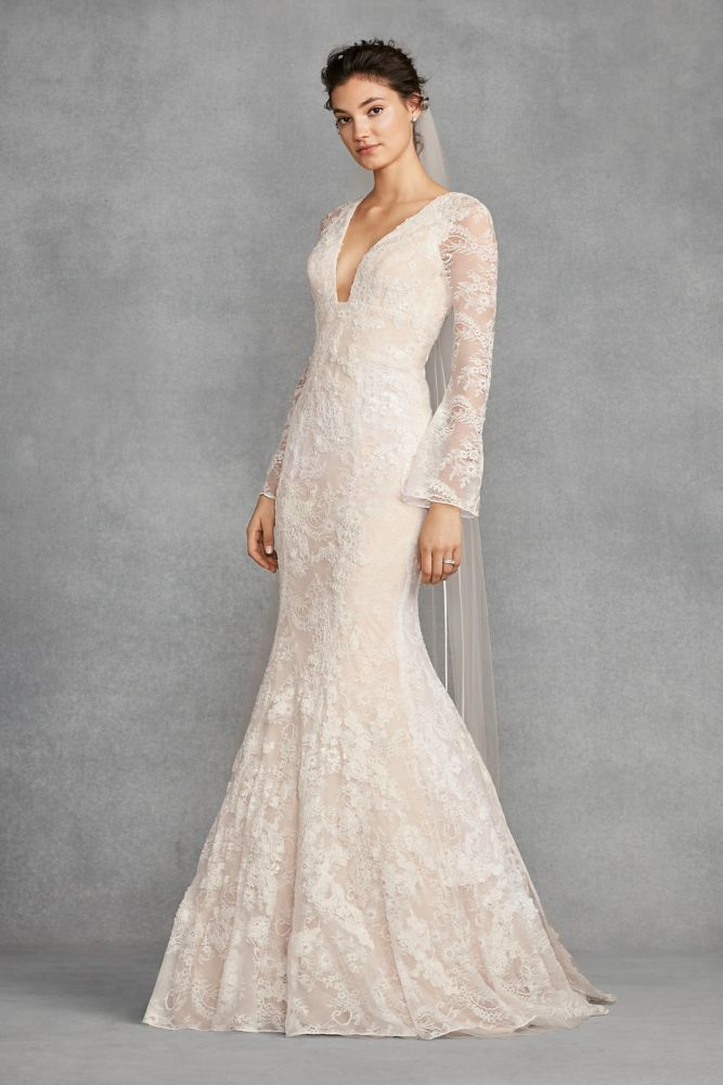 White By Vera Bell Sleeve Lace Wedding Dress