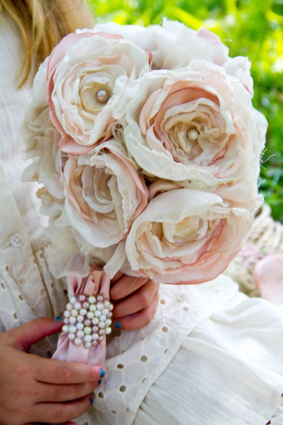 Pink ivory fabric flower bouquet rose beaded pearl bridal bouquet ...