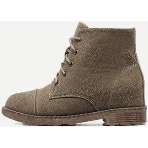 SheIn(sheinside) Coffee Nubuck Leather Cap Toe Hidden Heel Booties