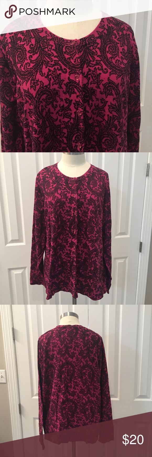 Lane Bryant Pink & Black Button Down Sweater | Black button, Pink ...