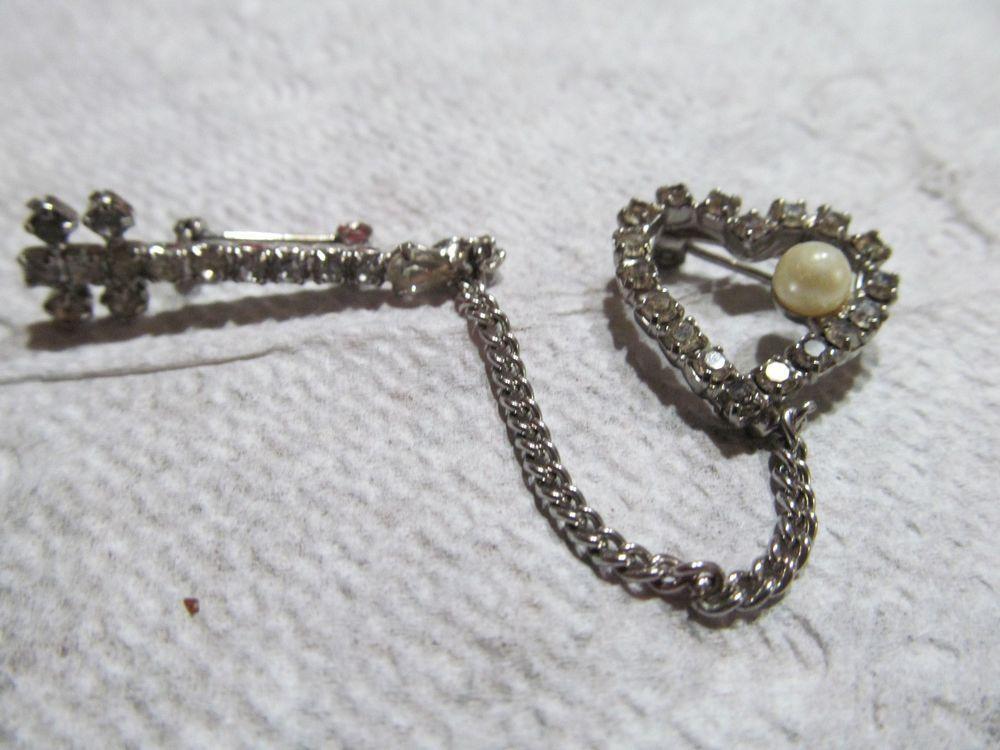 Heart and Arrow  Brooch Rhinestones, Pearl  | eBay