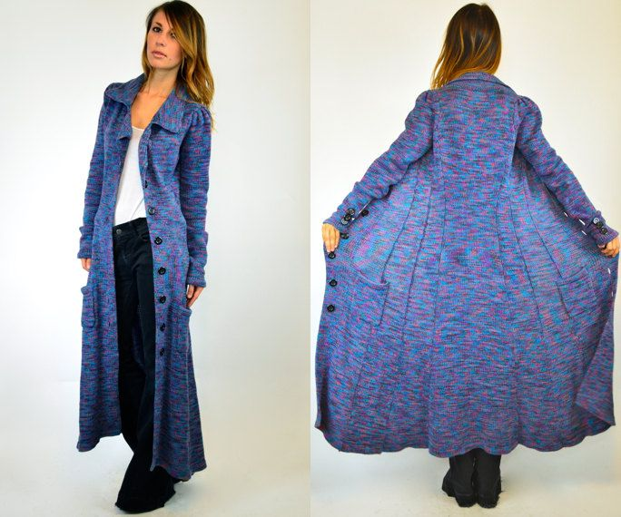 space dyed BETSEY JOHNSON maxi length DUSTER cardigan, extra small ...