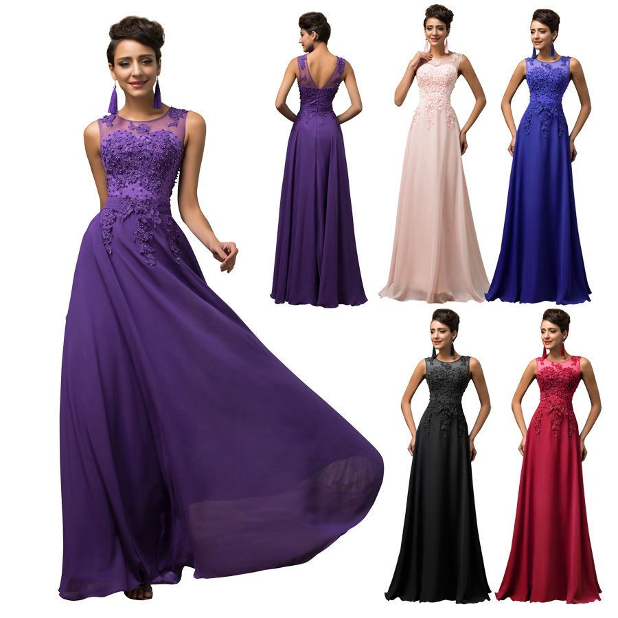Stock lacelong formal wedding evening ball gown party prom
