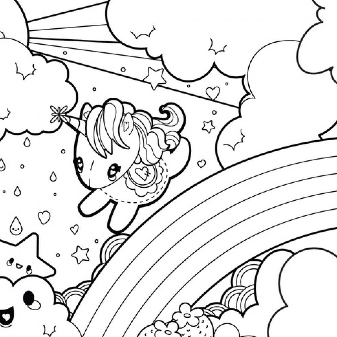 Unicorn Rainbow Coloring Picture With Images Unicorn Coloring