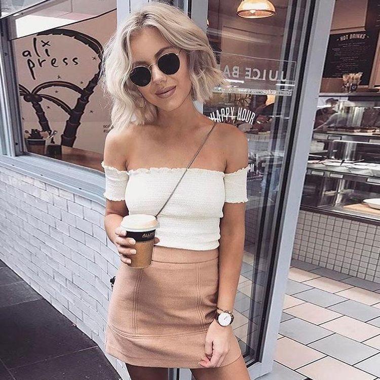 Looks Com Top Ombro a Ombro - Comer Blogar e Amar   Looks, Ideias fashion,  Looks femininos