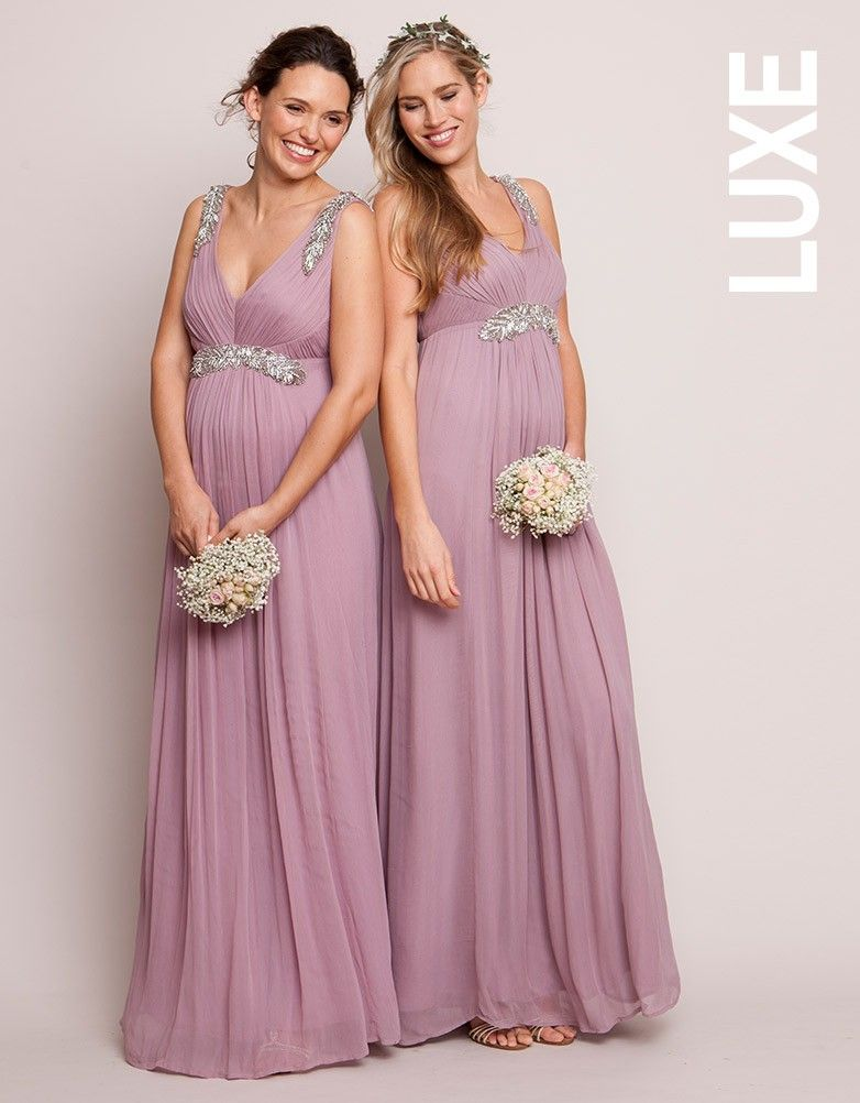 Mauve embellished grecian maternity gown seraphine for Designer maternity wedding dresses
