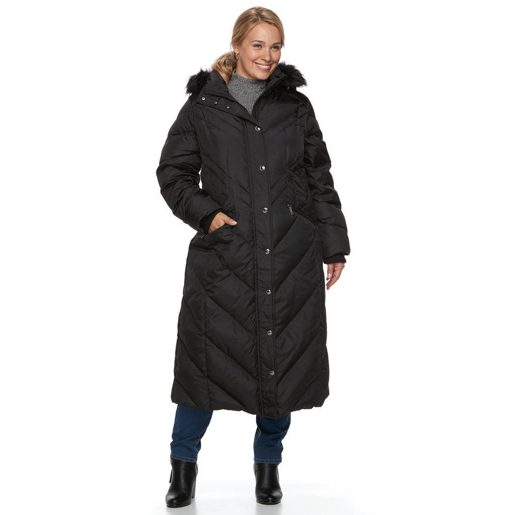 39c4f13d30f Plus Size TOWER by London Fog Faux-Fur Trim Down Long Puffer Jacket ...