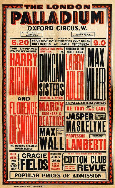 Vaudeville poster july 12 1937 design envy vintage pinterest vaudeville poster july 12 1937 original vaudeville poster from the london palladium maxwellsz