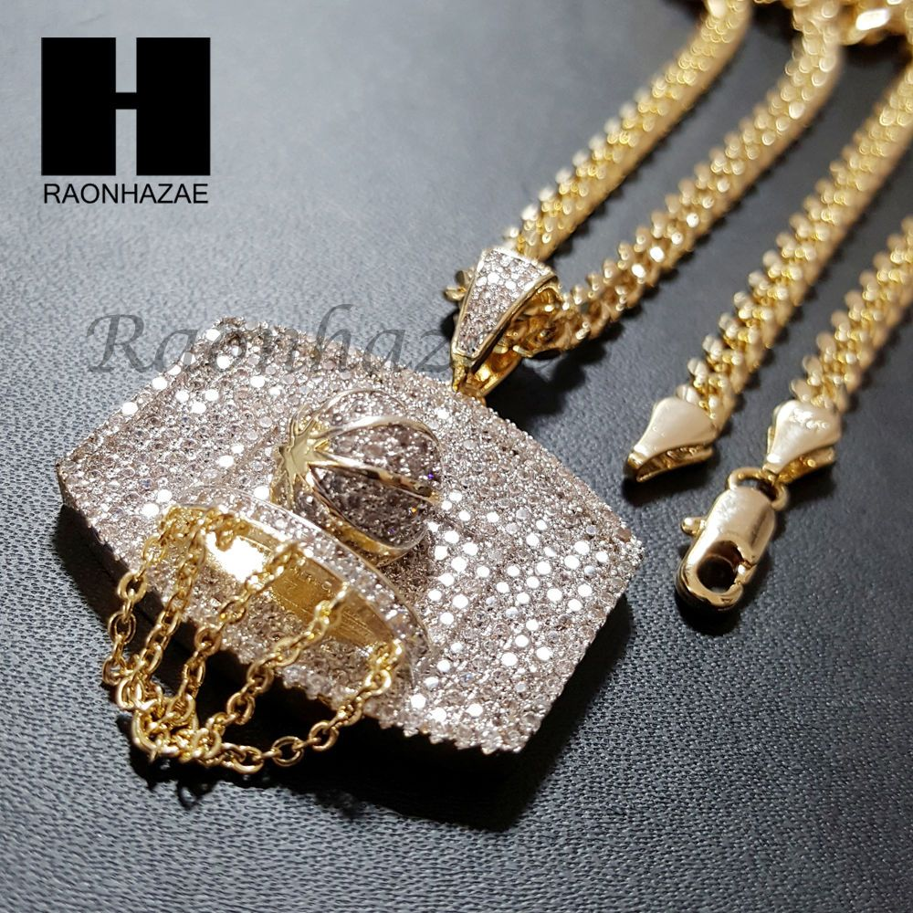 hiphop plated sapphire and chain faux en gold bling diamond lab pendants pendant