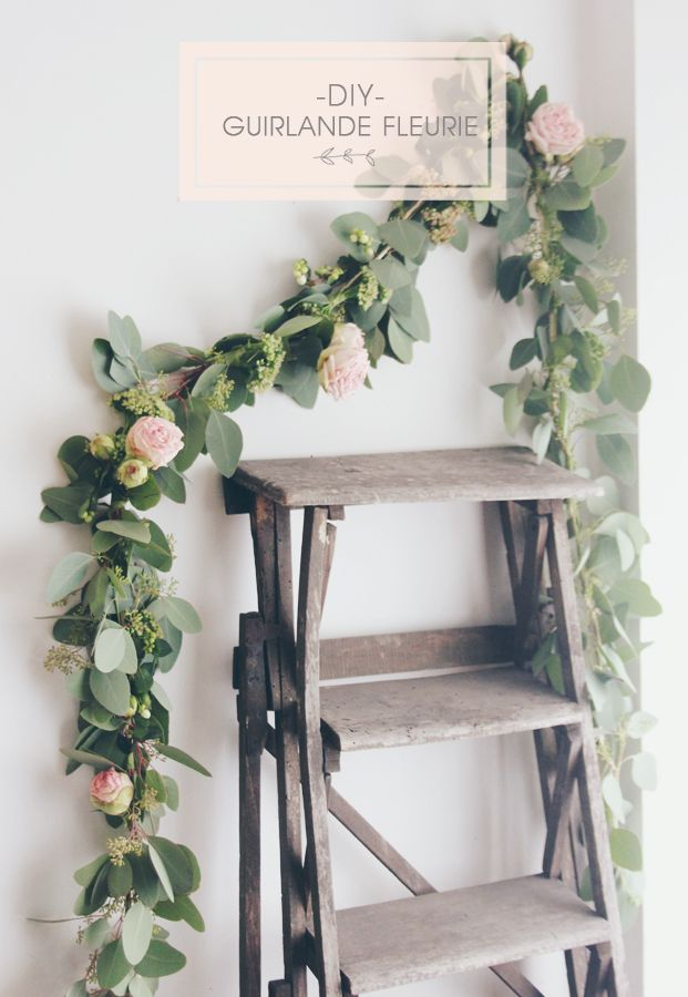 diy une guirlande de fleurs art rue pinterest guirlande de fleurs guirlande et deco mariage. Black Bedroom Furniture Sets. Home Design Ideas