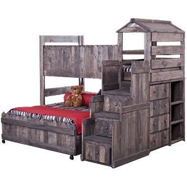 The Fort Twin Full Complete Loft Fort Bed With Stairway