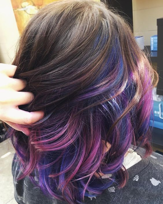 Galaxy Under Lights Hair Styles Peekaboo Hair Dark Purple Hair