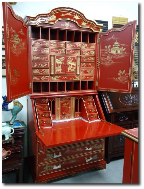 Chinoiserie Red Lacquer Bureau Secretary Desk Cabinet