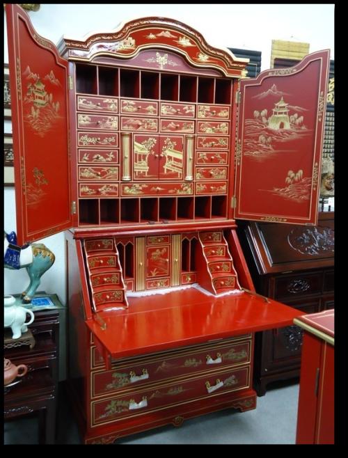 Chinoiserie Red Lacquer Bureau Secretary Desk Cabinet