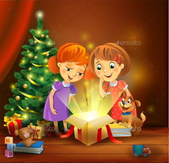 Christmas Miracle - Girls Opening a Magic Gift   Magic gift, Christmas design, Christmas