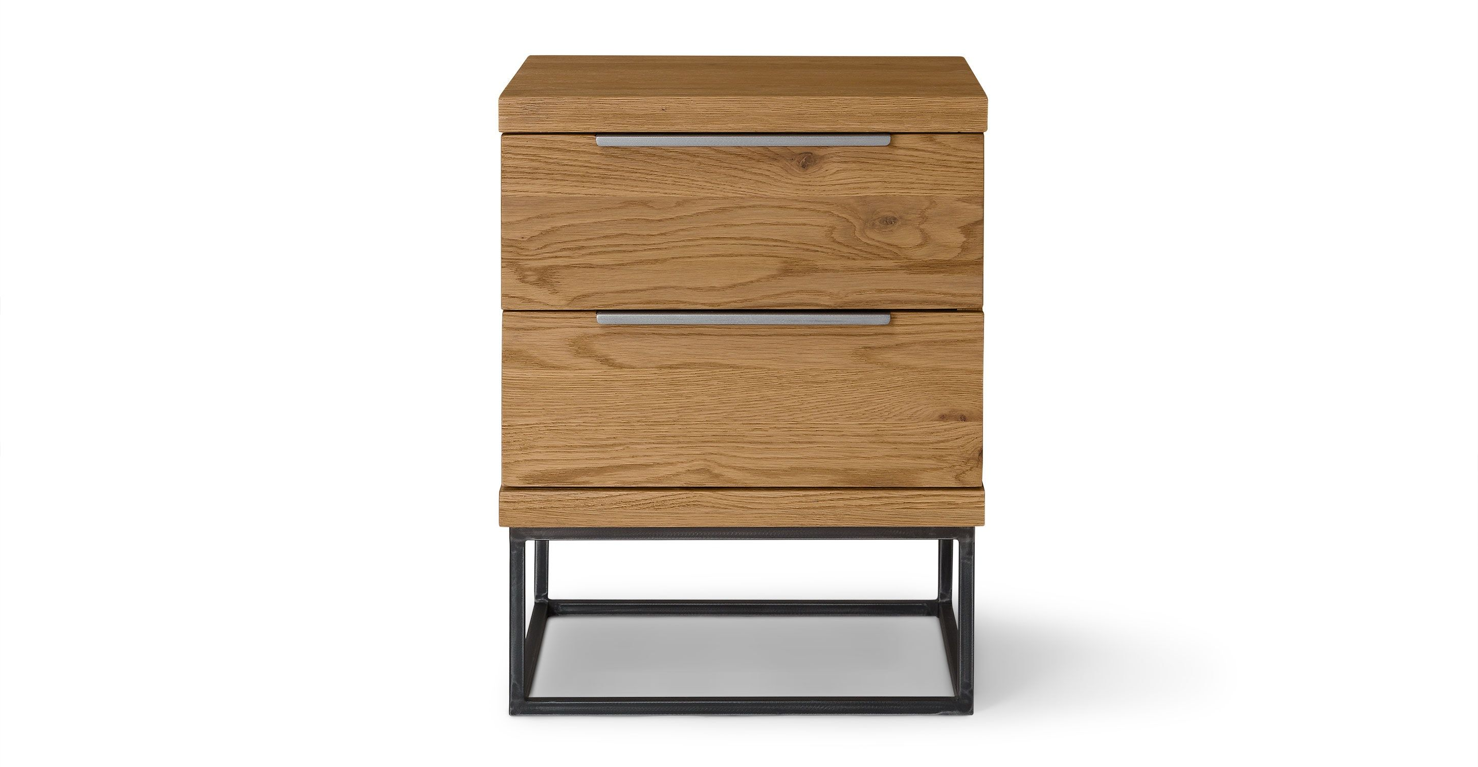 Taiga oak 2 drawer nightstand nightstands article modern mid century and scandinavian furniture