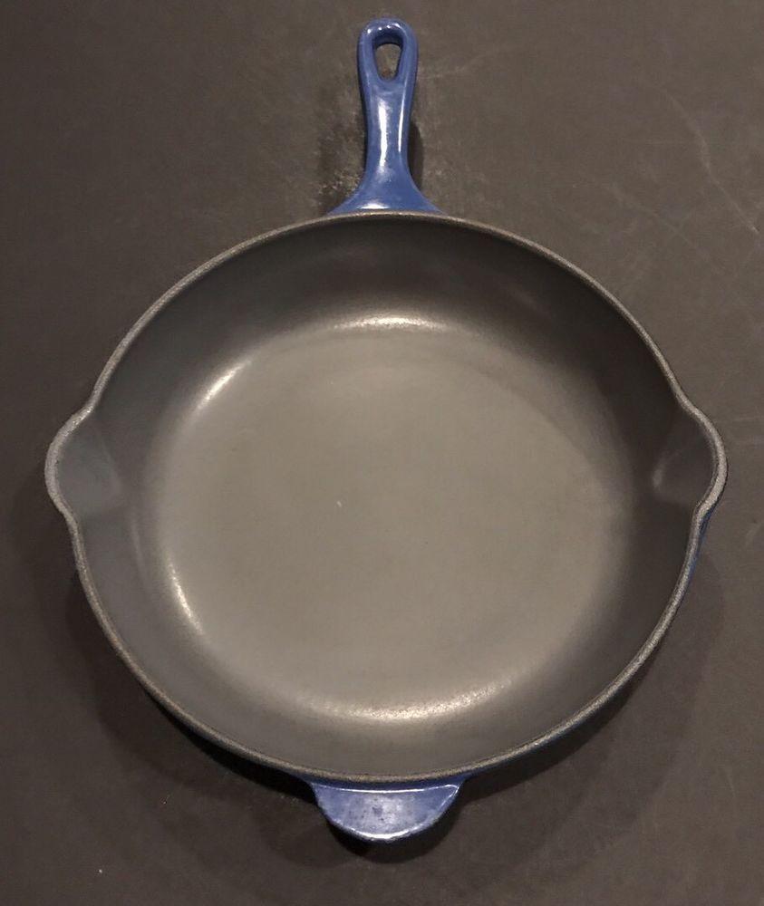 Lecreuset 23 Blue 9 Round Cast Iron Enamel Skillet Pan With Pour Spouts Ebay
