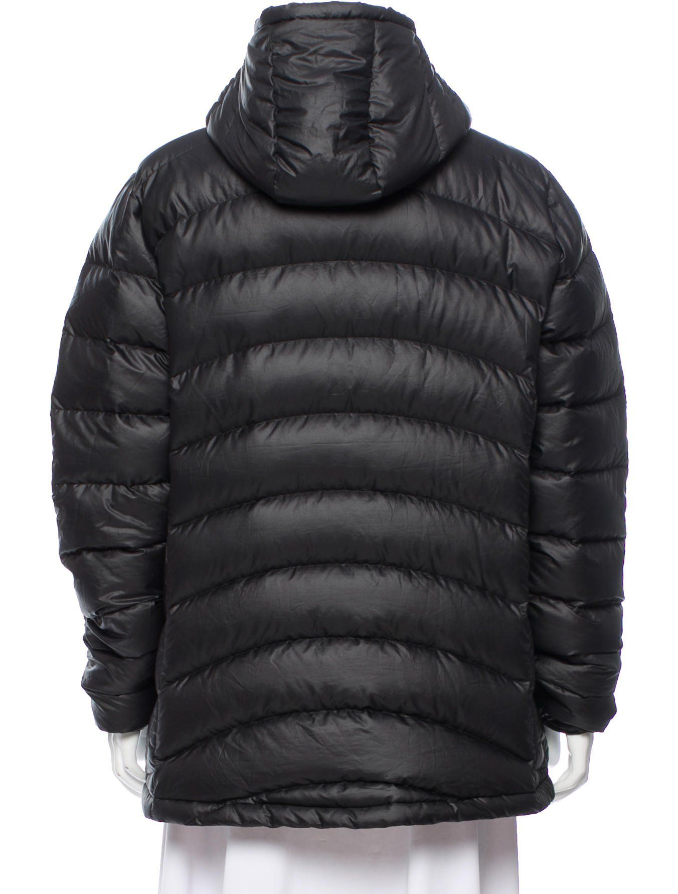 Black Patagonia down puffer jacket with attached hood