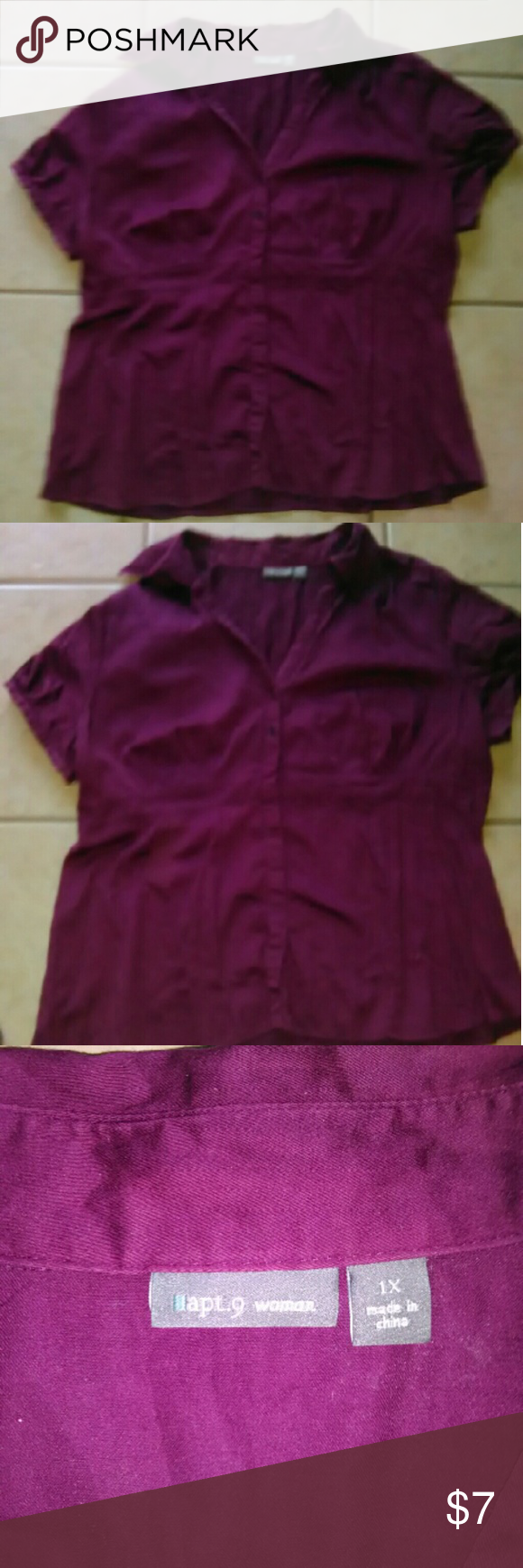 WAS💲7💲Apartment 9 1X top Pretty plum top in good condition ...