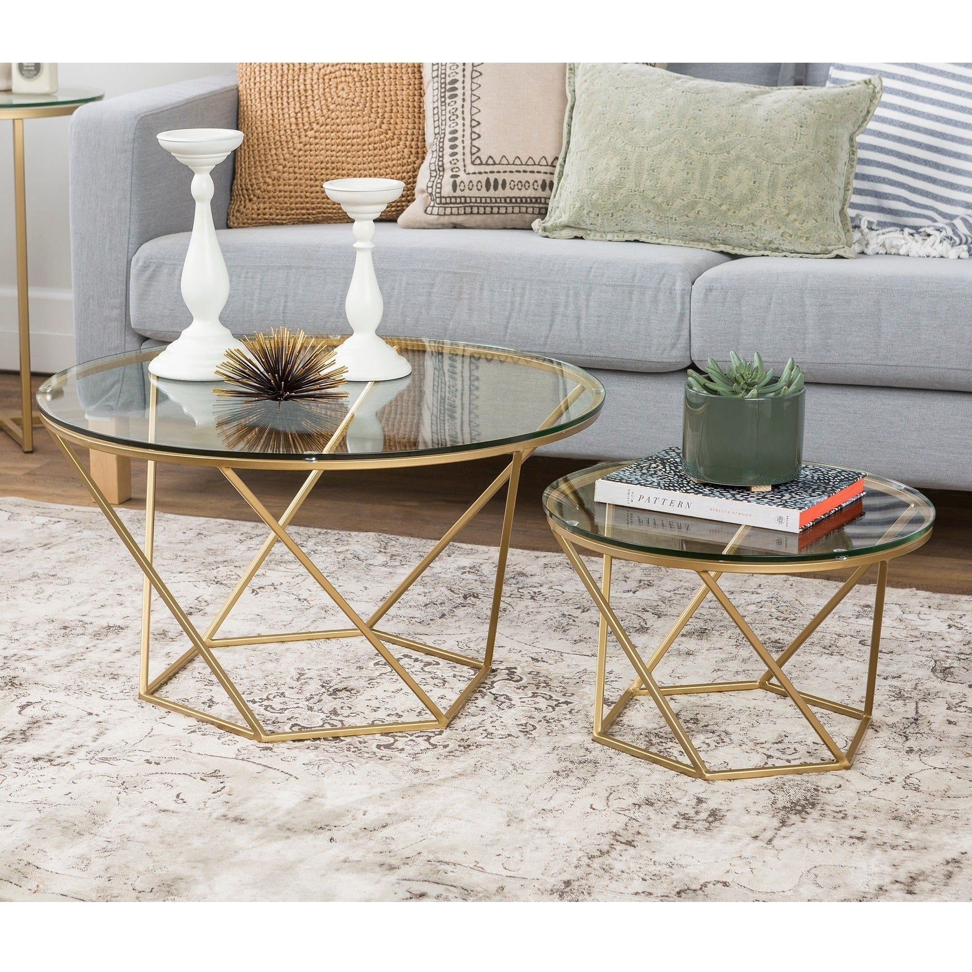 Silver Orchid Grant Geometric Glass Nesting Coffee Tables In Gold