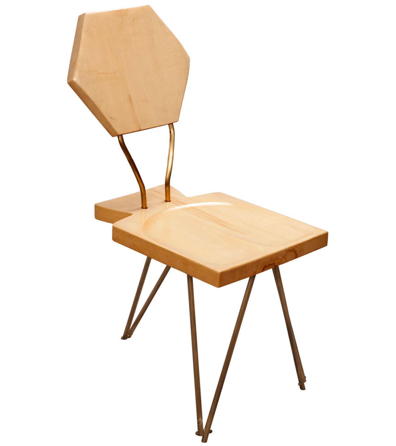 Carlo Mollino, Maple and Brass Chair, 1946.