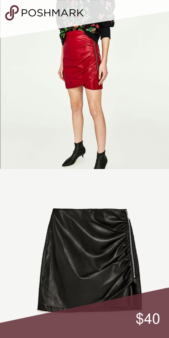 8093287794 Zara Black Leather Ruched Skirt Zara BLACK only faux leather skirt with  elevated trend ruching and side zip. Excellent condition.