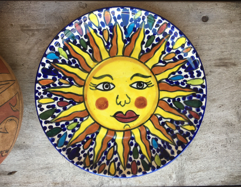 Sun Face Talavera Plate Wall Hanging, Mexican Pottery, Talavera ...