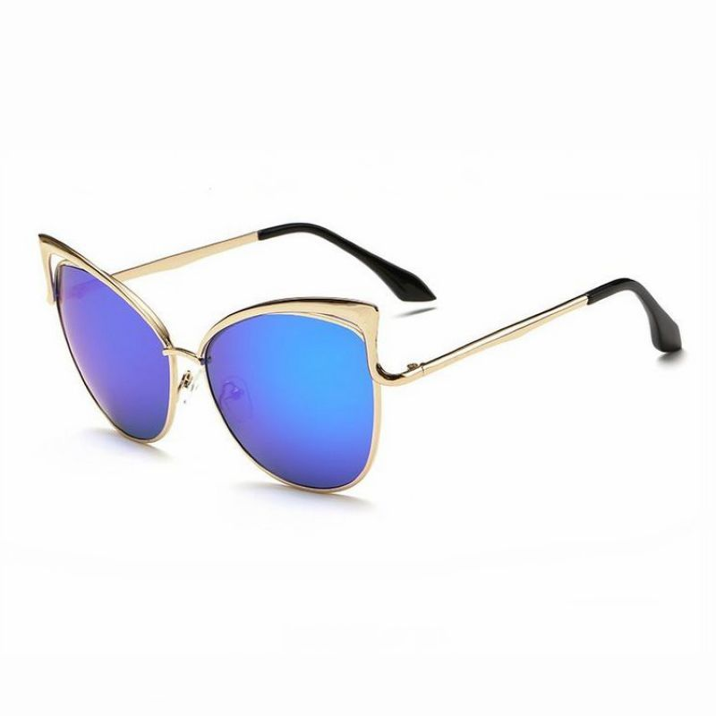 Womens Sexy Cat Eye Sunglasses Cutout Detailing Gold Frame Mirror Blue Lens f8bf13b206