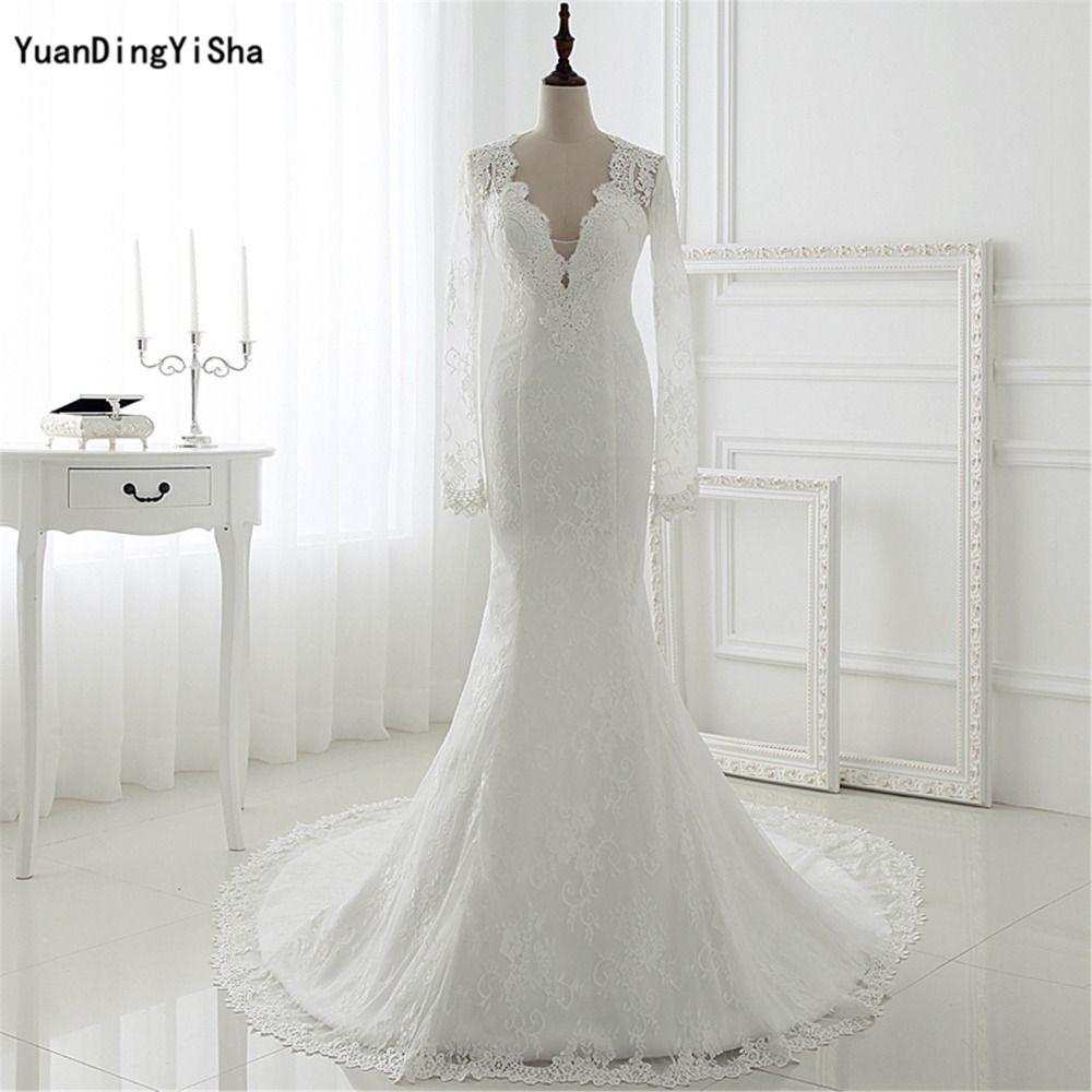 Real Picture Long Sleeves Lace Mermaid Wedding Dress Sexy Vestidos De Novias 2017 New Arirval vestidos de noiva robe de mariage  #Affiliate