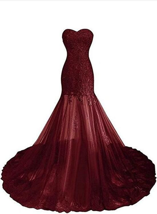1bc698d83e01 Burgundy Tulle with Beautiful Lace Applique Sweetheart Prom Gown, Chic Prom  Dresses 2018, Party Dresses,#burgundypromdress,#prom2018