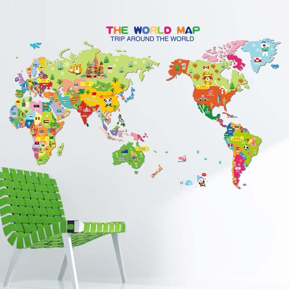 Animal world map removable vinyl wall decal wall decals and walls