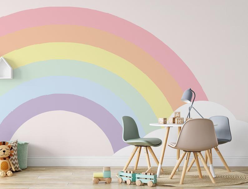 Half Rainbow And Cloud Background Wallpaper Self Adhesive Peel Etsy In 2020 Kids Room Wall Decor Kids Room Murals Nursery Wallpaper