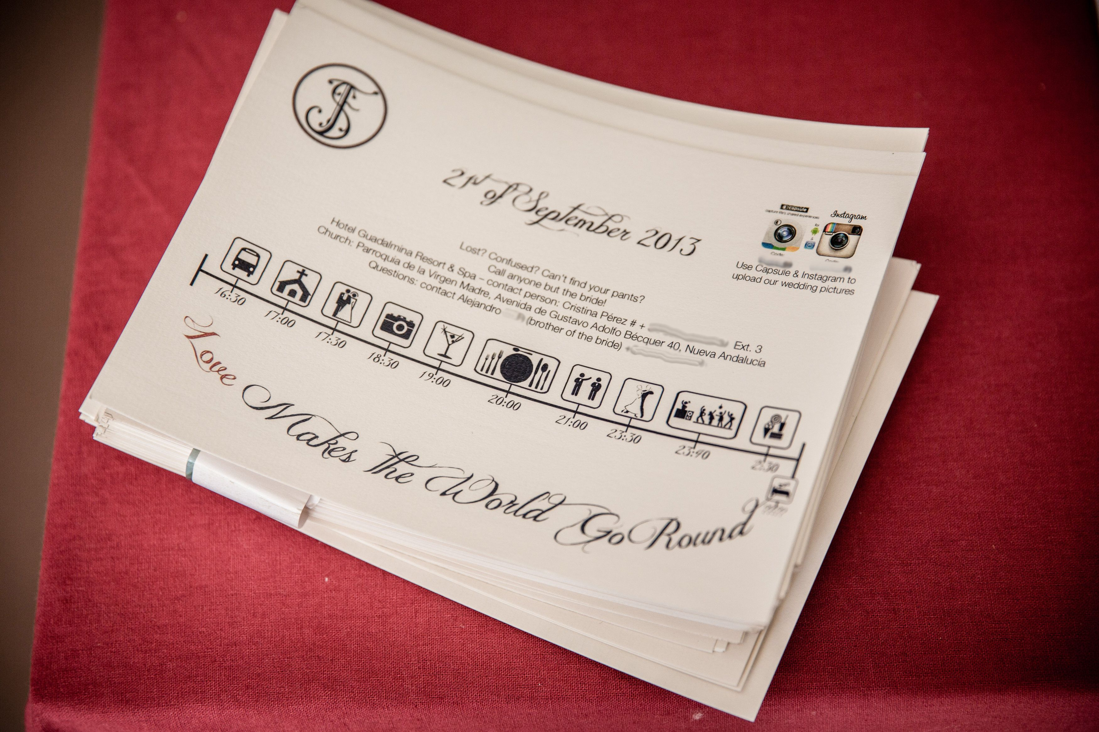 Wedding timeline with contact details in the same style of the ...